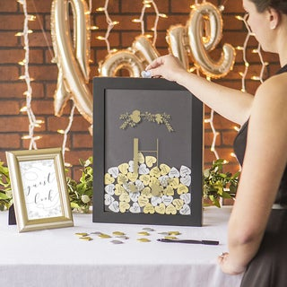 Personalized Gold Heart Drop Black Guestbook