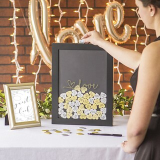 Gold Love Heart Drop Black Guestbook