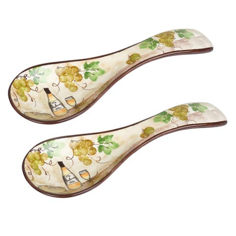 White Grape Ceramic Spoon Rest - Set of 2