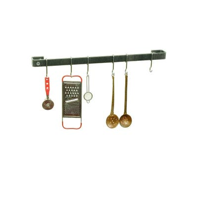 "Enclume Handcrafted 36"" Wall Rack Utensil Bar w/ 6 Hooks"
