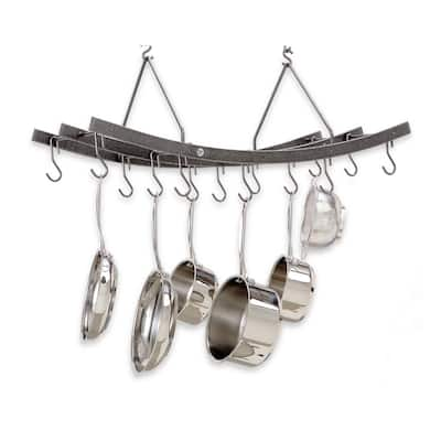 Enclume Handcrafted Reversible Arch Ceiling Pot Rack Hammered Steel