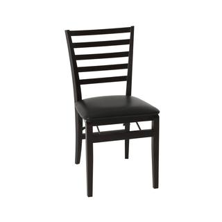 COSCO Contoured Back Espresso Wood Folding Chair with Vinyl Seat (Set of 2)