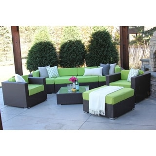 Hiawatha 8-PC Modern Outdoor Rattan Patio Furniture Sofa Set-Modular
