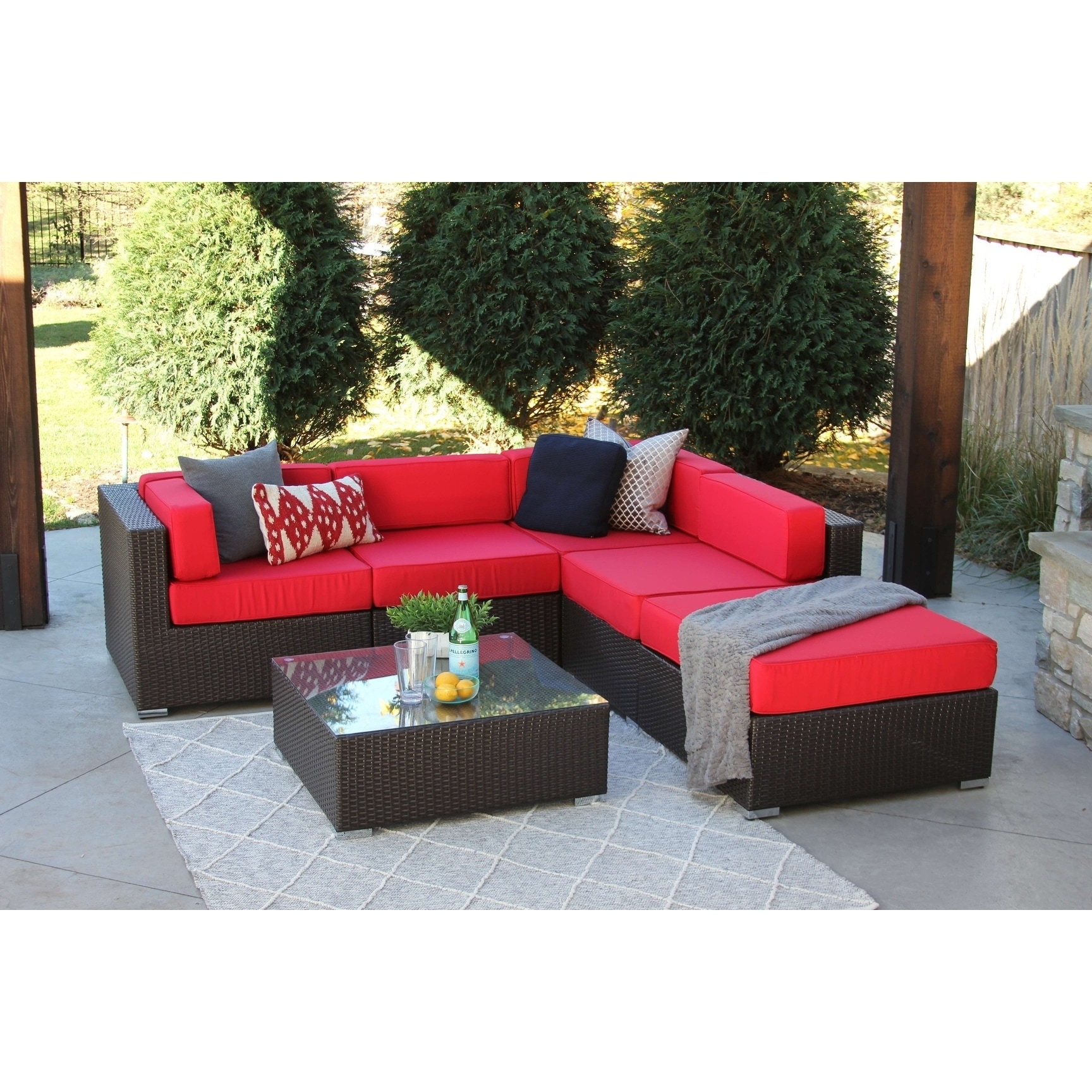 Nicolett 6 Pc Modern Outdoor Rattan Patio Furniture