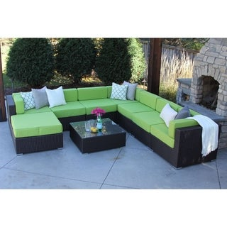 Irving 9-PC Modern Outdoor Rattan Patio Furniture Sofa Set-Modular