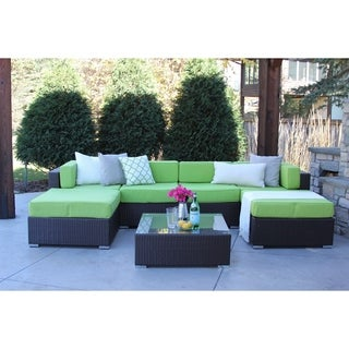 Dupont 7-PC Modern Outdoor Rattan Patio Furniture Sofa Set-Modular