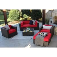 Aldrich 6-PC Modern Outdoor Rattan Patio Furniture Sofa Set-Modular