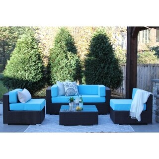 Selby 5-PC Modern Outdoor Rattan Patio Furniture Sofa Set-Modular