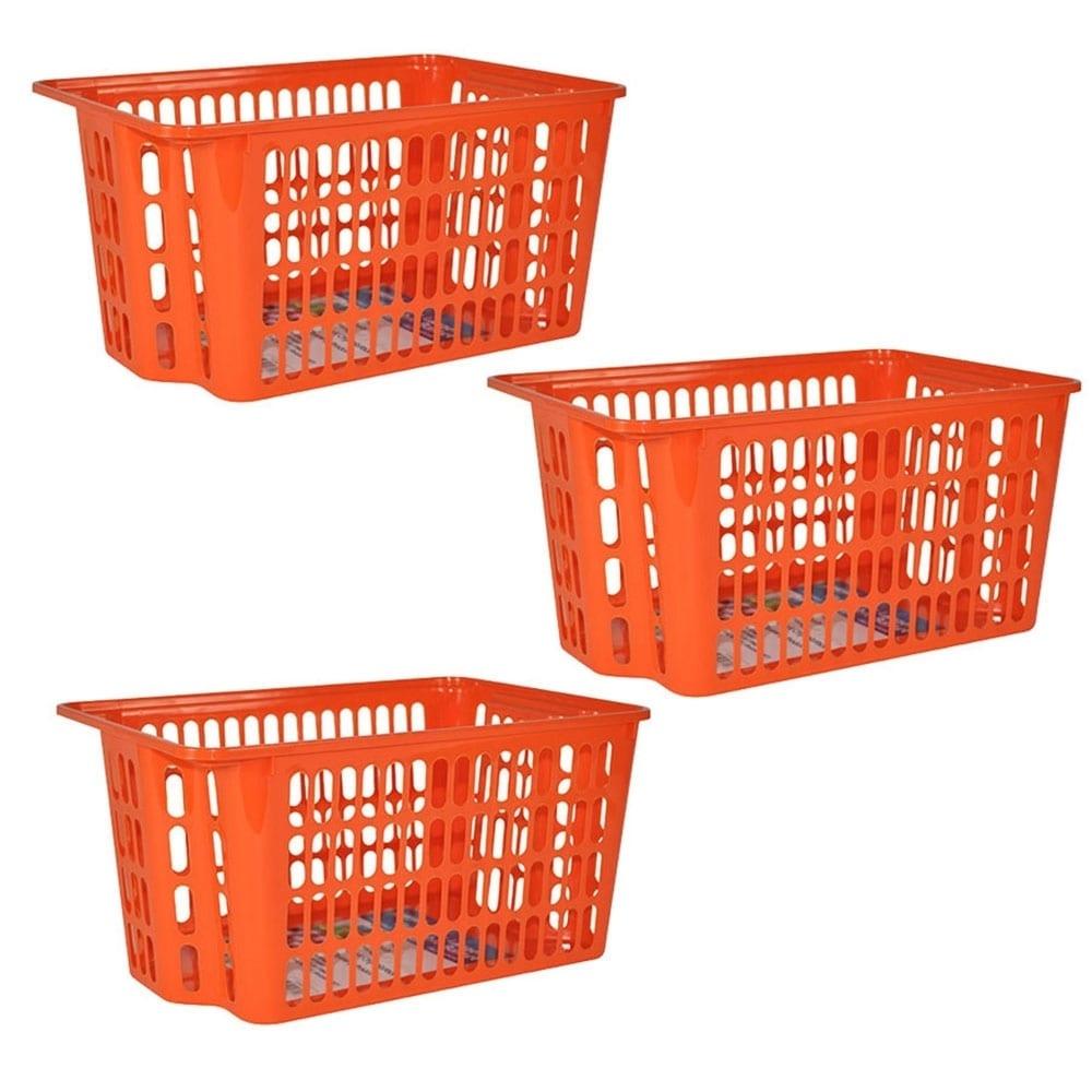 X-Large Stackable Storage Basket 3-Pack - Orange (Plastic)