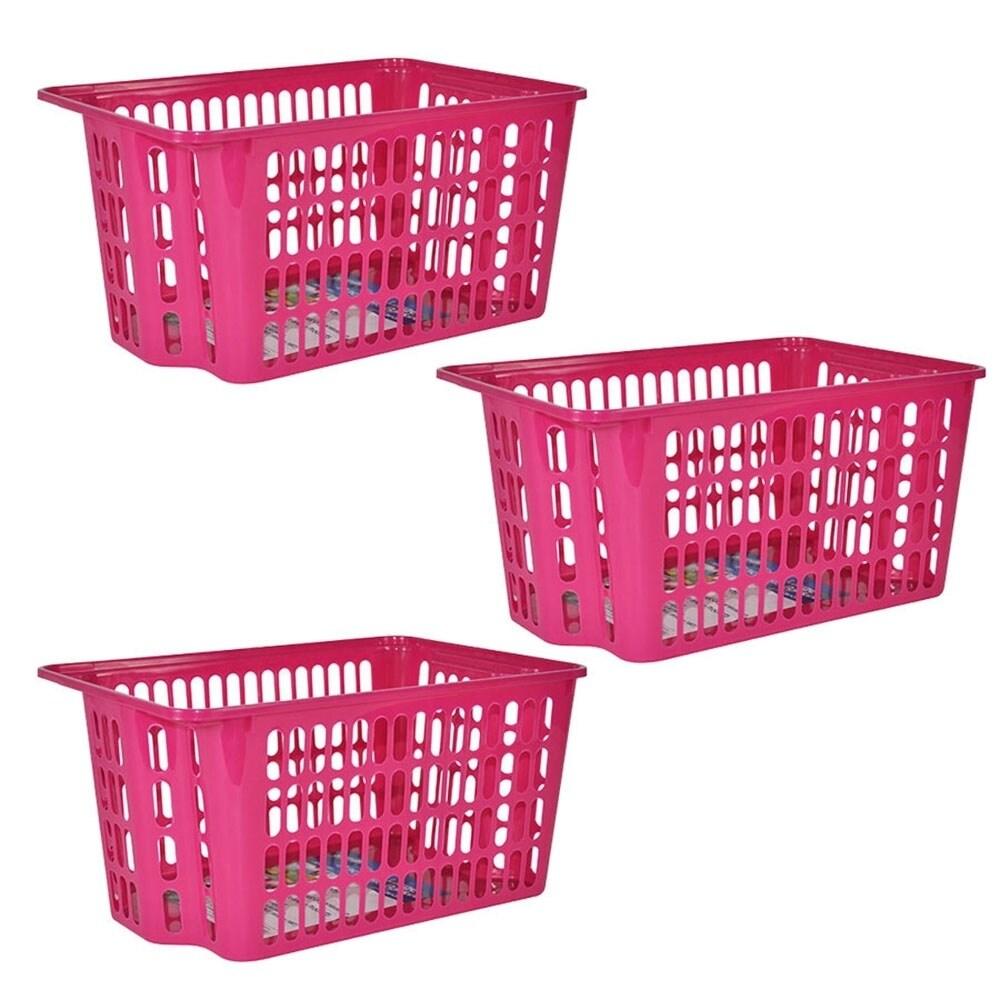 X-Large Stackable Storage Basket 3-Pack - Pink (Plastic)