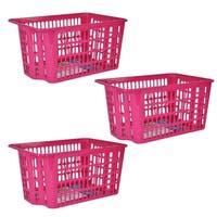 X-Large Stackable Storage Basket 3-Pack - Pink