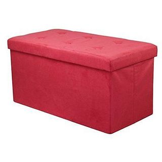 Sorbus Storage Bench Chest  Contemporary Faux Suede (Small, Red)