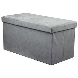 Sorbus Storage Bench Chest Contemporary Faux Suede (Small Suede, Grey)