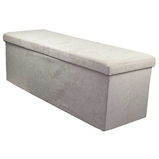 Sorbus Storage Bench Chest  Collapsible/Folding Bench Ottoman with Cover Contemporary Faux Suede (Beige)