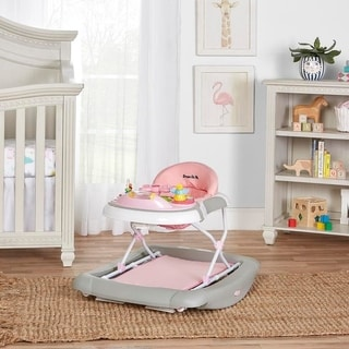 Dream On Me 2 in 1 Crossover Musical Walker and Rocker, Pink and Grey