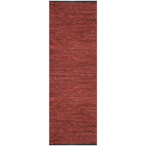 "Copper Matador Leather Chindi (2.5'x14') Runner - 2'6"" x 14'"
