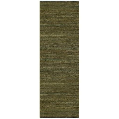 Green Matador Leather Chindi Rug