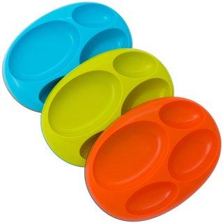Boon Blue/Green/Orange Platter Large Divided Edgeless Plate (Pack of 3)