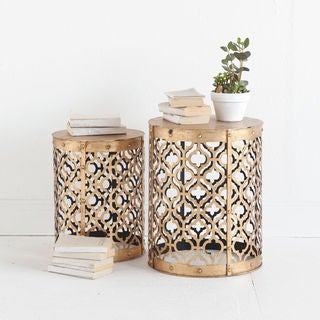 Mercana Rudebekia Gold Metal Nesting Side Tables (Set of 2)