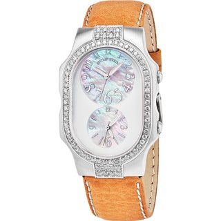 Philip Stein Women's 'Signature' Mother of Pearl Dial Green Leather Strap Dual Time Swiss Quartz Watch