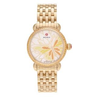 Michele Women's 'Garden Party' MWW05D000019 Goldplated Diamond Accent Topaz Butterfly Dial Watch