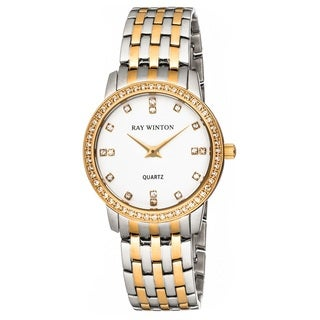 Ray Winton Women's Analog White Dial Crystal Bezel Two-Tone Stainless Steel Bracelet Watch