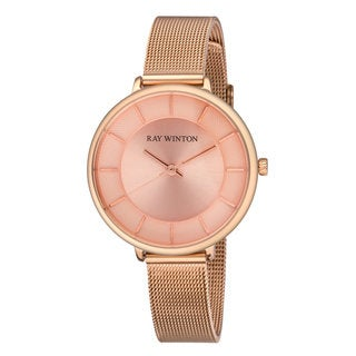 Ray Winton Women's Analog Blush Dial Rose Gold Stainless Steel Mesh Bracelet Watch