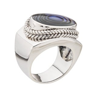 Oval Abalone East-West Ring - Blue