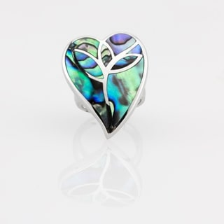 Sterling Silver Freeform Abalone Heart Inlay Ring - Blue
