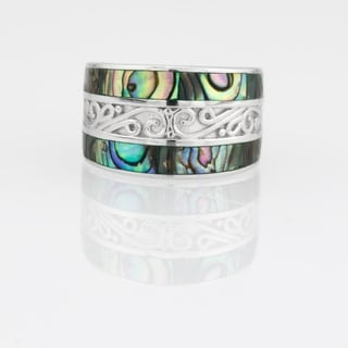 Abalone Inlay Scrollwork Eternity Band Ring - N/A
