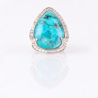 Turquoise & White Zircon Halo Ring - Blue