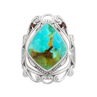 Kingman Turquoise & Garnet Scrollwork Ring - Blue