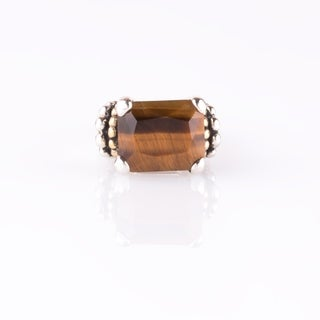 Sterling Silver Tiger's Eye East-West Beaded Ring - Orange