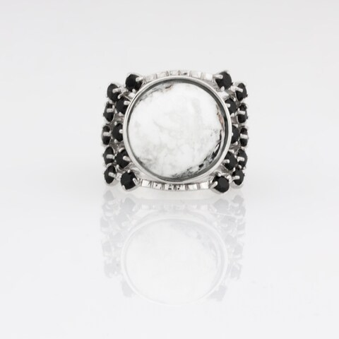 White Buffalo & Black Spinel Wide Band Ring