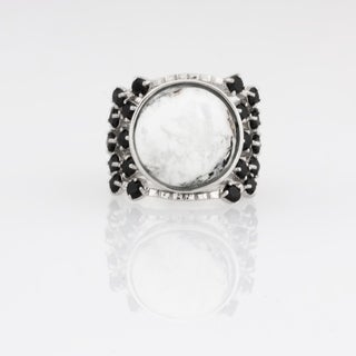 White Buffalo & Black Spinel Wide Band Ring - N/A