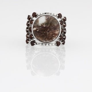 Wild Horse & Garnet Wide Band Ring - Cherry Wood