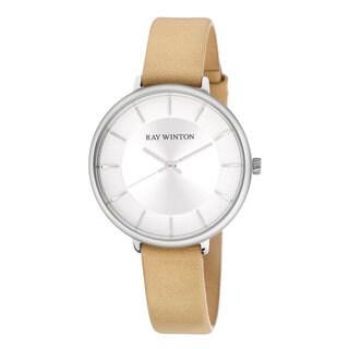 Ray Winton Women's WI0810 Analog Silver Dial Beige Genuine Leather Watch