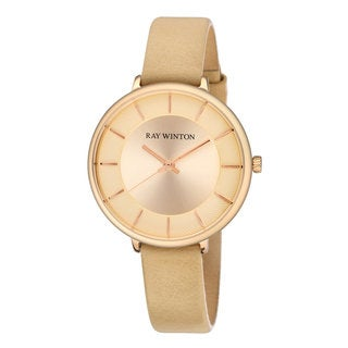 Ray Winton Women's WI0808 Analog Champagne Dial Beige Genuine Leather Watch