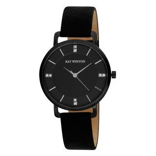 Ray Winton Women's WI0807 Analog Black Dial Black Suede Leather Watch