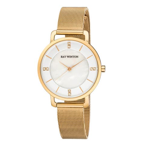 Ray Winton Women's WI0801 Analog Mother Of Pearl Dial Gold Stainless Steel Mesh Bracelet Watch