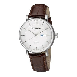 Ray Winton Men's WI0607 Automatic Analog White Dial Brown Genuine Leather Watch