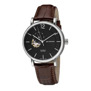 Ray Winton Men's WI0605 Automatic Analog Black Dial Brown Genuine Leather Watch