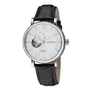 Ray Winton Men's WI0604 Automatic Analog White Dial Black Genuine Leather Watch