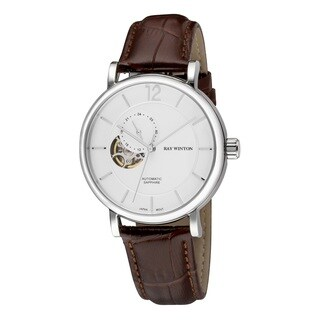 Ray Winton Men's WI0604 Automatic Analog White Dial Brown Genuine Leather Watch