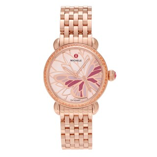 Michele Women's MWW05D000018 'Garden Party' Rose Goldplated Diamond Accent Topaz Butterfly Watch