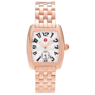 Michele Women's MWW02A000548 'Urban Mini' Rose Goldplated White Dial Link Bracelet Watch