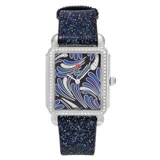 Michele Women's MW06X01A1074 'Deco II' Stainless Steel 1/2 CT TDW Diamond Blue Sparkle Strap Watch
