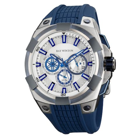 Ray Winton Men's WI0502 Multi-Function Silver Dial Blue Silicone Watch