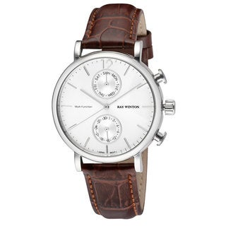 Ray Winton Men's Multi-Function Silver Dial Brown Genuine Leather Watch