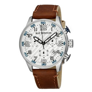 Ray Winton Men's Sport Chronograph Textured Silver Dial Brown Leather/Fabric Watch